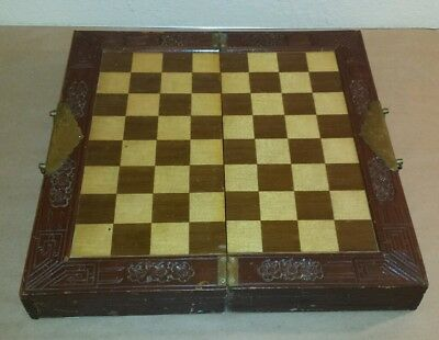 RARE Vintage Hand Carved CHESS SET Complete Folding Case Drawers Brass Handles