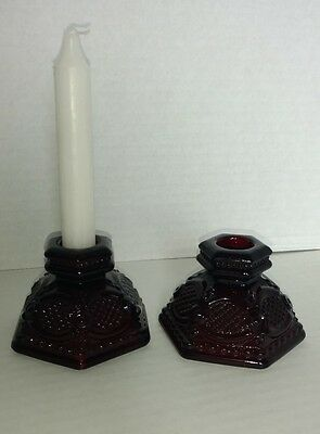Vintage Set 1876 AVON Cape Cod Collection Ruby Red Glass Candlestick Holders