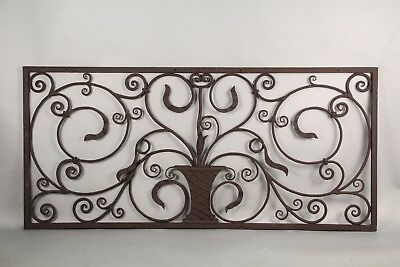 1920s Wrought Iron Window Grill Antique Spanish Revival Tudor Gothic (10849)
