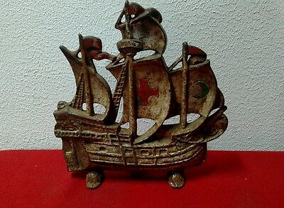 Vintage rustic 1940s cast iron boat 205 sailing nautical ship door stop