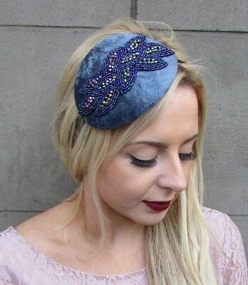 Dark Grey Blue Beaded Fascinator Teardrop Races Headband Vintage Velvet Hat 4938