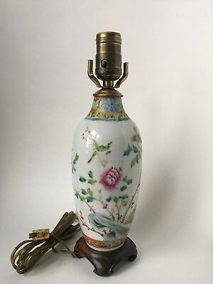 Antique 19th C Chinese Famille Rose Vase table lamp (no shade) Qing