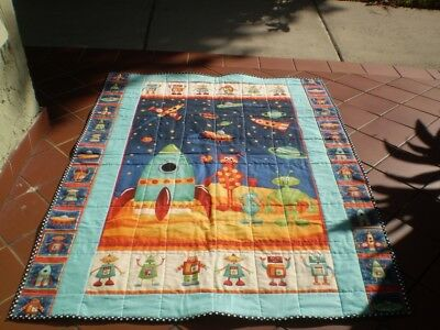 Handmade baby quilt,boy or girl quilt,baby quilt,ribbon tag quilt,Space Aliens