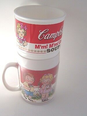 2 Vintage Campbells Kids Soup Plastic Mugs 1992 Anchor Hocking & Thermo-Serv