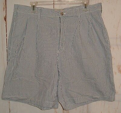 Men's Cherokee Khaki Blue Pin Striped Cotton Shorts Sz 36