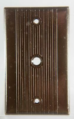Vintage Leviton Bakelite Ribbed Radio Or Telephone Wall Plate 3913 Brown