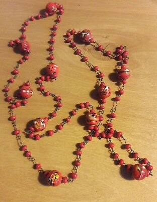"Vintage Antique Czech Red Glass Bead Chain long Necklace 44"" Murano"