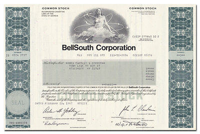 BellSouth Corporation Stock Certificate (Cingular Wirless, AT&T)