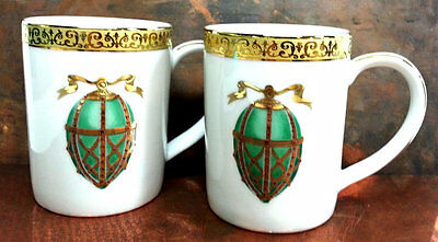 Gold Buffet Mugs (2), Royal Gallery Faberge Egg Porcelain Cups Federated Stores