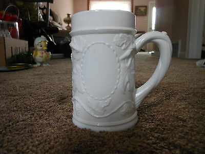 Vintage, Thick, Heavy Milk Glass Stein, Grapes, Leaves, Branch Handle