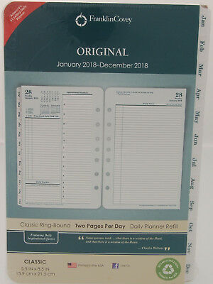 2018 Franklin Covey Original Two Page Per Day Classic Ring-Bound Planner Refill