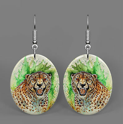 Mother of Peal Shell Printed Leopard Earrings Oval Drop Fashion Gift R1706 0737