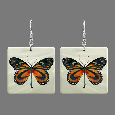 Natural Mother of Pearl Shell Butterfly Earrings Square Drop S1707 1021