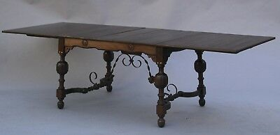 1920s Large Spanish Revival WalnutDining Table w Iron Trestle and leafs (10865)