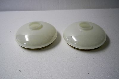 Vintage pair of iridescent white glass light shades