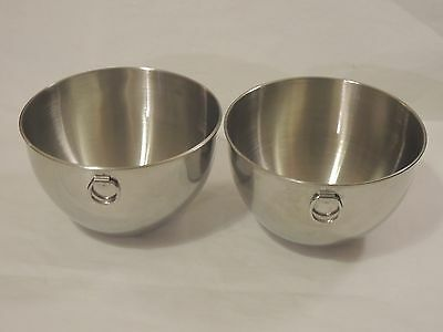 """2 Revere Ware Stainless Steel Kitchen Mixing Medium Bowls with Ring 7 3/4"""""""