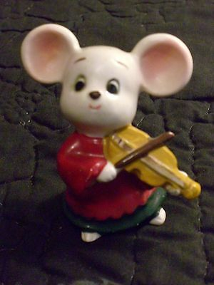 Vintage Lefton China  Mouse Hand Painted Made In Japan Violin Music