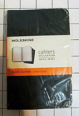 The Moleskine Cahiers Pocket Journals 3.5 x 5.5 Black Cover Set of 3