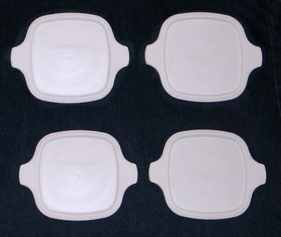 4 NEW Plastic White Corning Ware Petite Lids FIT ALL P-41-(B) & P-43-(B) Dishes