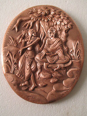 lord buddha`s print wall hanging plaque and sign brass vintage antique