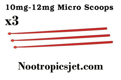 Noopept Micro Spoons 10-12mg Red Anti-static Polypropylene Measuring Scoops (x3)