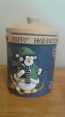 Holiday Winter Penguin Skiing Cookie Jar Canister