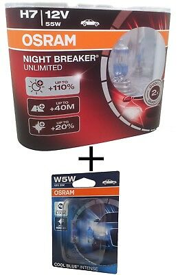 H7 OSRAM Night Breaker Unlimited +110%  64210NBU + W5W Cool Blue Intense