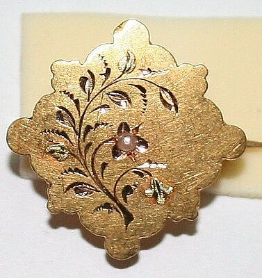 ANTIQUE VICTORIAN FRENCH BI COLOR 18k GOLD PEAERL FLOWER LEAFS SMALL BROOCH 1880