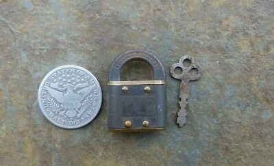 Antique Brass & Cast Iron Yale & Towne Miniature Padlock & Orig Key 1-1/2""