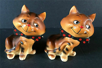 Cat Salt & Pepper Shakers Vtg Japan H993 Whiskers Polka Dot Bowties Kitties