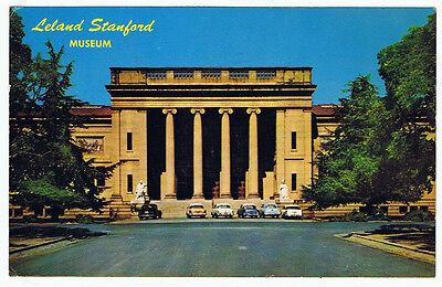 Vintage Old 1967 Postcard Leland Stanford Museum California Art Architecture Car
