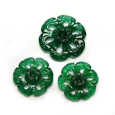 Stunning 47.40 Crs Natural Handcarfted Floral Shape Green Agate Gemstone Carving