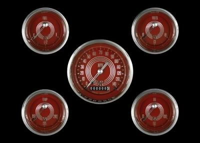 V8 Red Steelie Series Five Gauge Set - Classic Instruments - V8RS00SHC