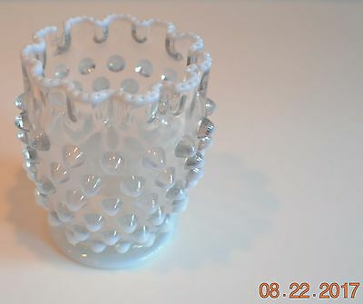 Antique opalescent Hobnail vase with ruffled & beaded top edge