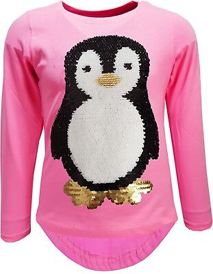Pinguin Kinder Mädchen Wende Pailletten Lang Bluse LangarmShirt Sweat  Pullower