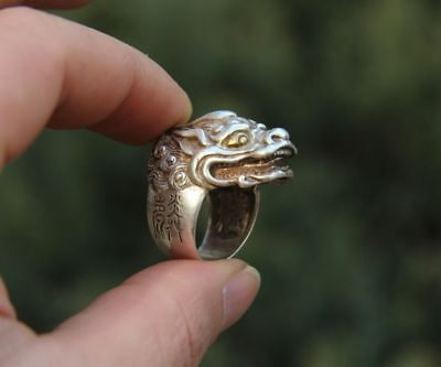 China Miao Jewelry Silver Handwork Flexible Caliber Dragon Head Finger Ring