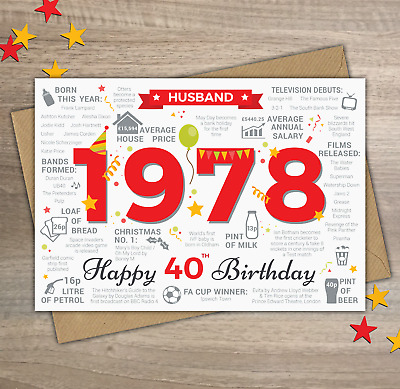 1978 HUSBAND Happy 40th Birthday Memories Birth Year Facts Greetings Card Red
