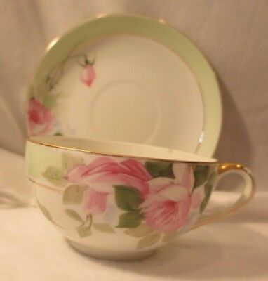 Vintage Hand Painted Nippon Tea Cup & Saucer Pink Roses Green & Gold Trim