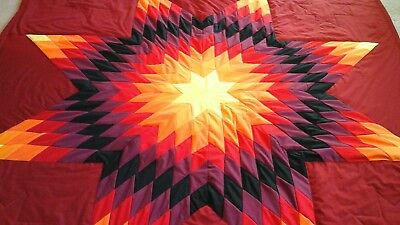 Beautiful authentic Native American Lakota star Quilt Red