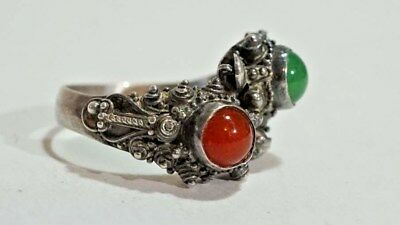 F191 Superb Chinese Export Silver 900 Glass Sea Creatures Etruscan Ring S: 6.25