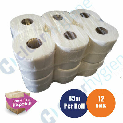 12 rolls(2 PACKS) x White Centrefeed Embossed 2ply Wiper Paper Towel 85M
