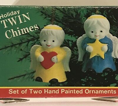 Vintage Twin Chimes 2 Bisque Angel Ornament Bells