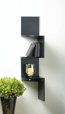 Black Contemporary 3-Tier Zig Zag Corner Wall Shelves with Drawer
