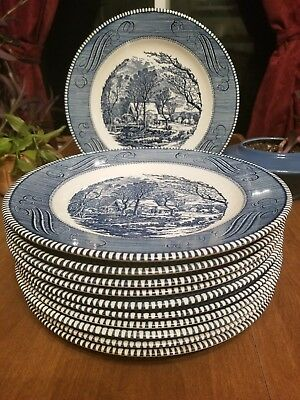 8 Vintage Currier & Ives Dinner Plates