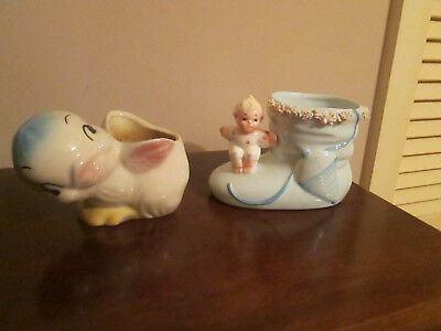 Lot of 2 Vintage Baby Planters Blue Bootie and Duck 1960's  Relpo/Samson Import
