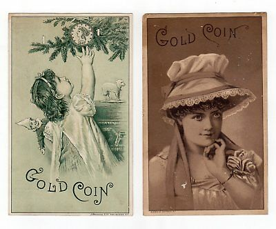 Antique Trade Cards Gold Coin Ventiduct Range Chicago Stove Works Set of 4