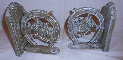 Pair Cast Iron Double Horse Heads In Horseshoe Book Ends -- Antique White Finish