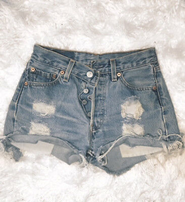 Vintage High Waisted 90s Levis 501 Denim Cut Off Shorts