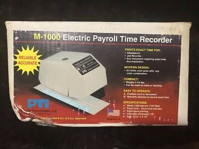 Pyramid Technologies 1000 Series Electric Payroll Time Recorder M-1000