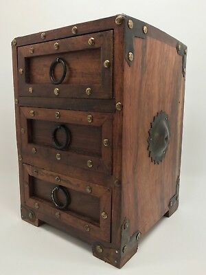Vintage Japanese Wood Iron Accent Chest Box for Jewelry Trinkets Coins (RF739)